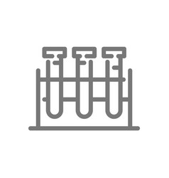 simple test tube and flask line icon symbol and vector image