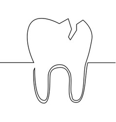 single continuous line art tooth vector image