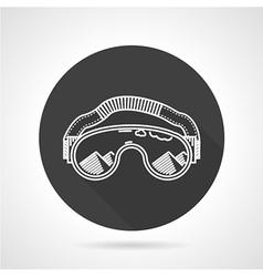 Ski goggles black round icon vector image