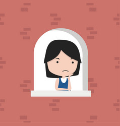 small girl near window at home vector image