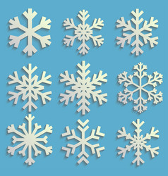 snowflakes set with transparent shadow winter vector image