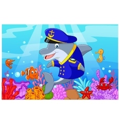 Standing little cartoon Dolphin using uniform Capt vector