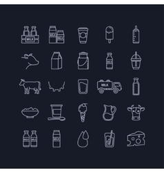Thin line set of milk dairy and cows vector