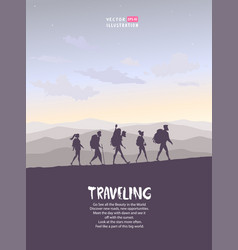 trekking people vector image