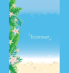 Tropical garden with sealife on beach background vector