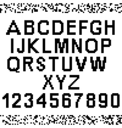 Upper-case pixel letters and numbers vector image