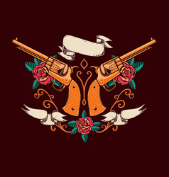 Vintage emblem template with revolvers roses and vector