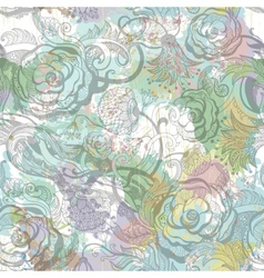 Vintage flowers seamless pattern EPS10 vector image
