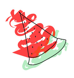 watermelon slice - summer fruit vector image