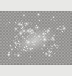 White sparks and stars shine with light dust vector