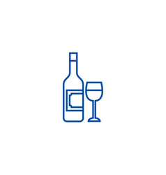 wine and glass line icon concept wine and glass vector image