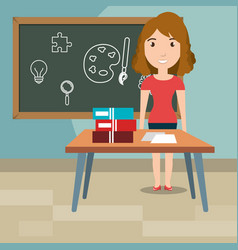 woman teacher in the classroom vector image