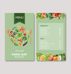 World food day menu design with broccoli beetroot vector