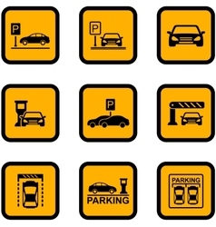 Yellow car parking icons vector