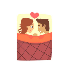 young man and woman characters lying on the bed vector image