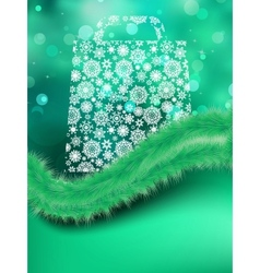 Bag for shopping on green background EPS 8 vector image vector image