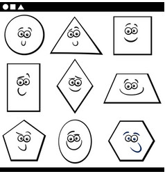 basic geometric shapes for coloring vector image