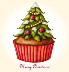 Christmas watercolor greeting card with Christmas vector image