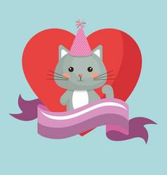 cute cat and heart sweet kawaii character birthday vector image