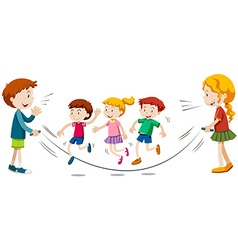Kids skipping rope in team vector