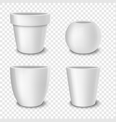 realistic white empty flower pot set vector image vector image
