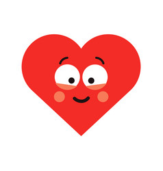 red happy smiling heart vector image vector image