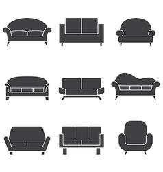 Sofa Icons vector image vector image