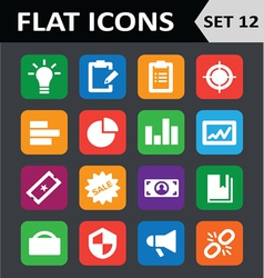 Universal Colorful Flat Icons Set 12 vector image