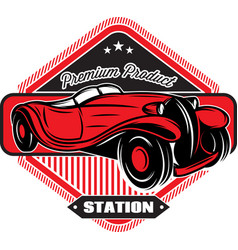 black badge with red retro car and inscriptions vector image vector image