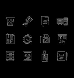 business accessories flat line icons set vector image vector image