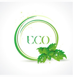 eco symbol with green leaves icon vector image