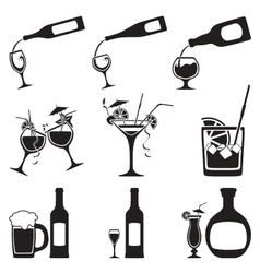 glass and bottle set vector image