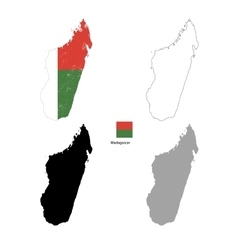 Madagascar country black silhouette and with flag vector image vector image