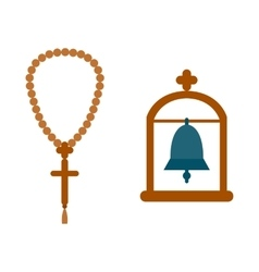 Religion bell hanging in the archway vector image