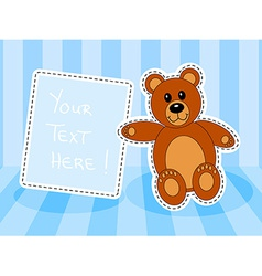 Teddy bear with blank sign in blue room vector image vector image