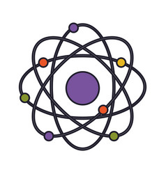 atom icon colorful silhouette with thick contour vector image