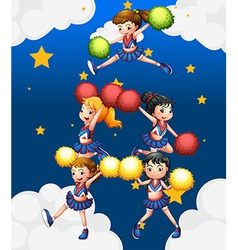 Five cheerdancers dancing with their pompoms vector image vector image