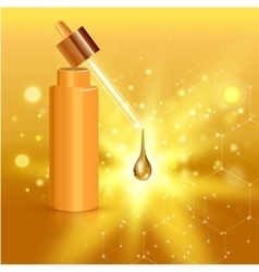 Gold realistic cosmetic tube poster with collagen vector