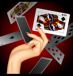 hand with a playing card vector image vector image