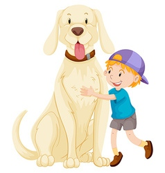 Little boy and pet dog vector image