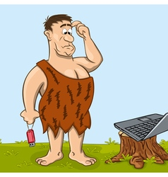 Primitive man is looking at the laptop vector image vector image