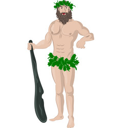 primitive man with a big cudgel vector image