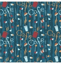 Seamless background with coffee cups and lettering vector image