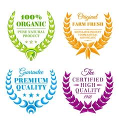 set of color wreath labels vector image