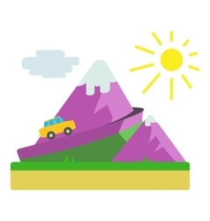 Travel by car in mountains concept flat style vector