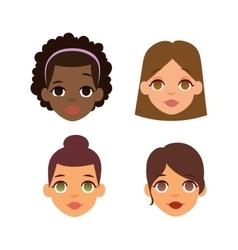 Woman emoji face icons vector image