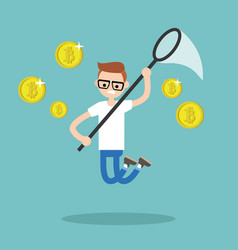 young male character mining bitcoins conceptual vector image vector image