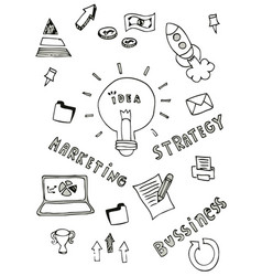 business doodle icon design free hand vector image
