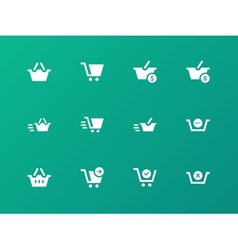 Checkout icons on green background vector image