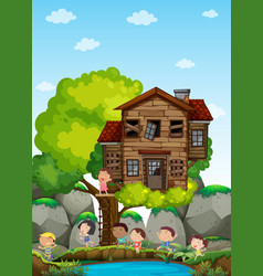 children playing at the treehouse vector image vector image